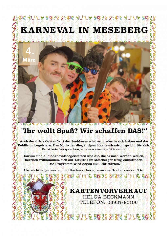 Karneval @ Meseberger Krug